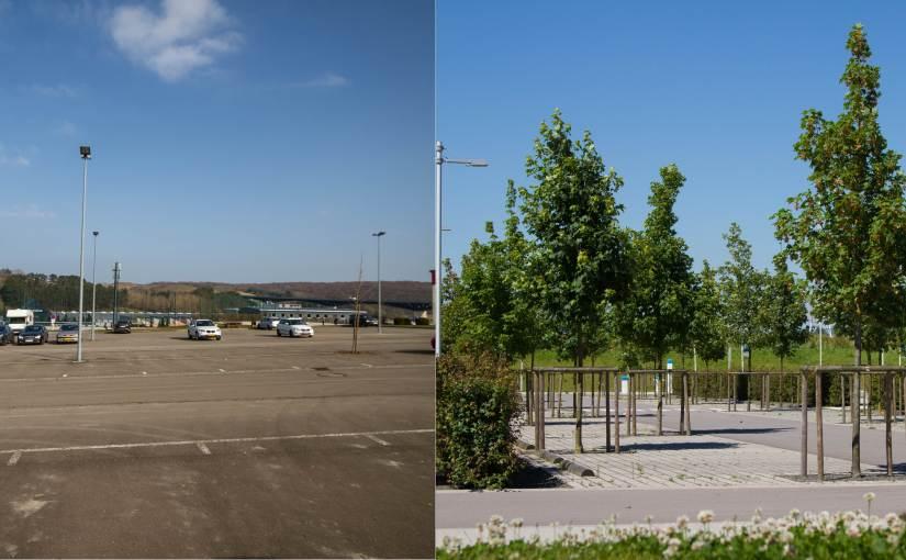 Voll asphaltierte Parkplätze